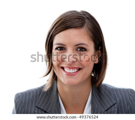 Portrait of a successful businesswoman against a white background - stock photo