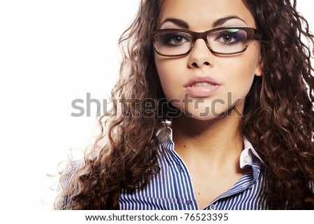 Portrait of a successful businesswoman in glasses  a white background