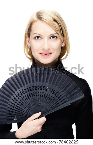 Portrait of a successful,  elegant, attractive, business woman wearing black blouse. - stock photo