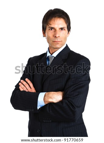 Portrait of a successful handsome businessman isolated on white - stock photo