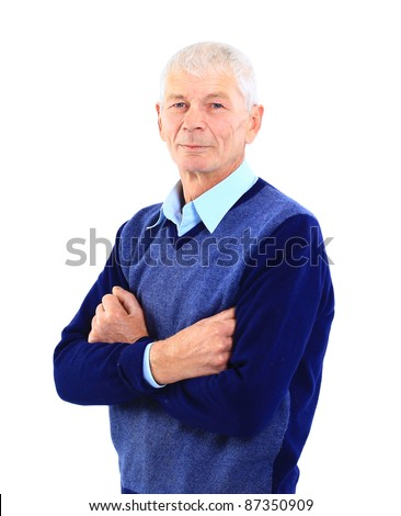 Portrait of a successful senior man standing over white background - stock photo