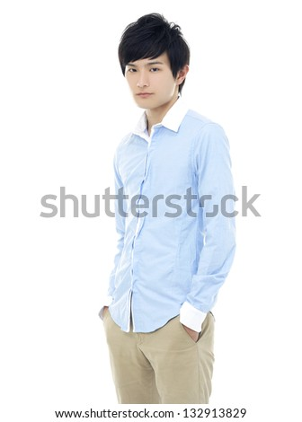 Portrait of a successful young business man standing with hands on hip against white background