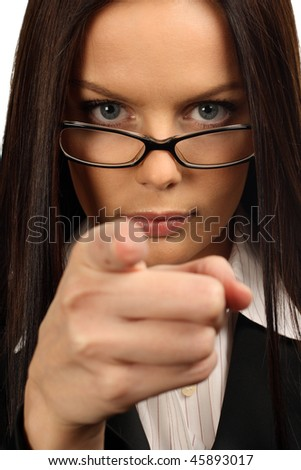 Portrait of a successful young business woman pointing her finger - stock photo