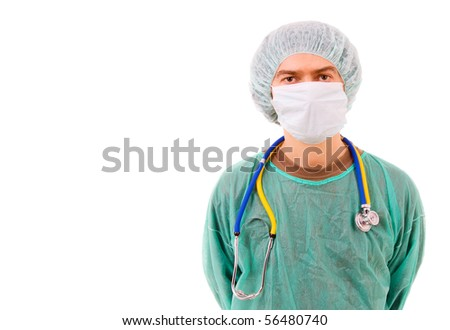 Portrait of a successful young doctor, isolated on white - stock photo