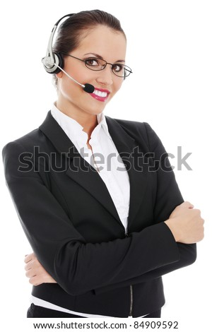 Portrait of a successful young female call center employee wearing a headset against white background - stock photo