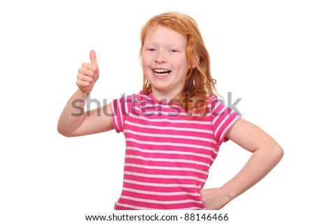 Portrait of a successful young girl showing thumbs up