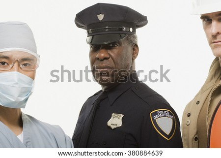Portrait of a surgeon a police officer a construction worker - stock photo