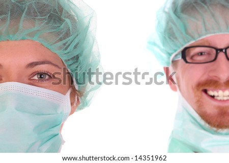 portrait of a surgeon on white background