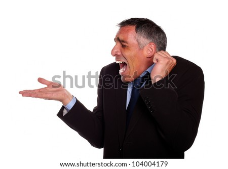 Portrait of a surprised adult man with extended right hand against white background - stock photo