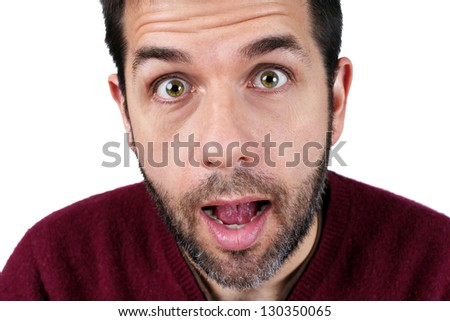 Portrait of a surprised middle-aged caucasian man - stock photo