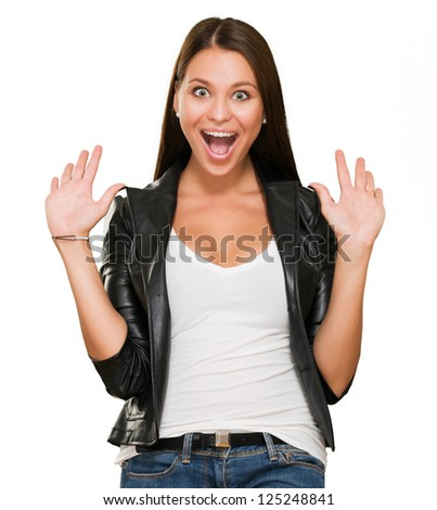 Portrait Of A Surprised Woman Isolated On White Background - stock photo