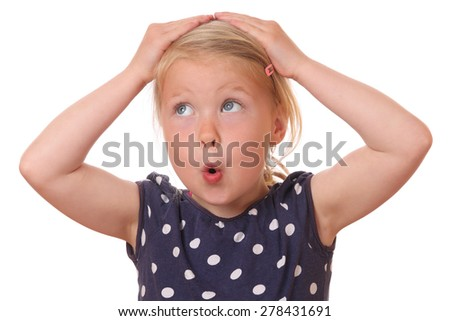 Portrait of a surprised young girl on white background - stock photo