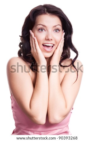 portrait of a surprised young woman, isolated against white background - stock photo