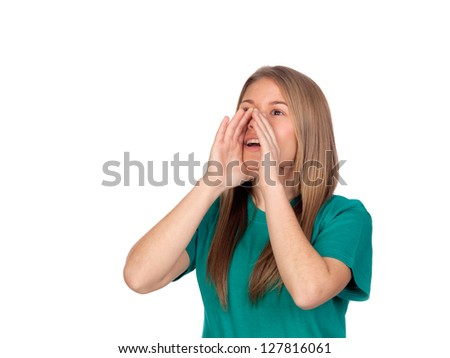Portrait of a teen girl shouting something water isolated on white background