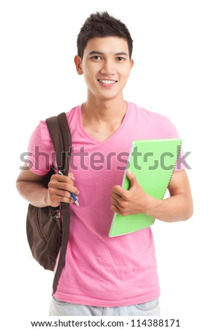 Portrait of a teenage boy with backpack - stock photo