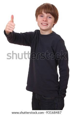 Portrait of a teenage boy with thumbs up on white background