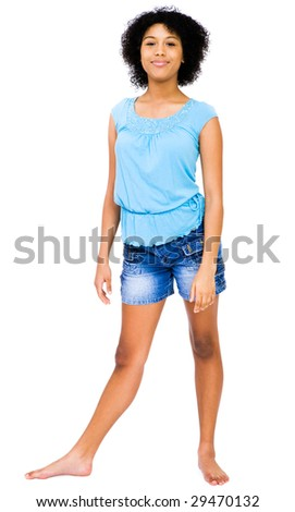 Portrait of a teenage girl posing and smiling isolated over white - stock photo