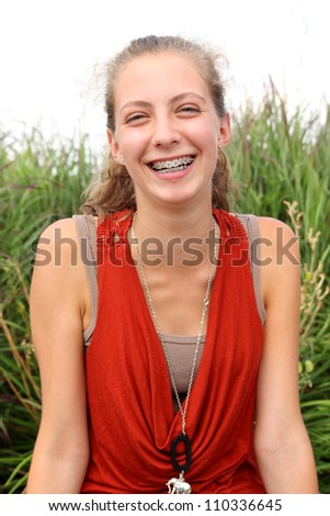 Portrait of a teenager a huge smile