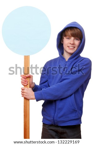 Portrait of a teenager holding a blank sign on white background - stock photo