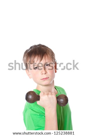 portrait of a teenager with dumbbells on a white background - stock photo