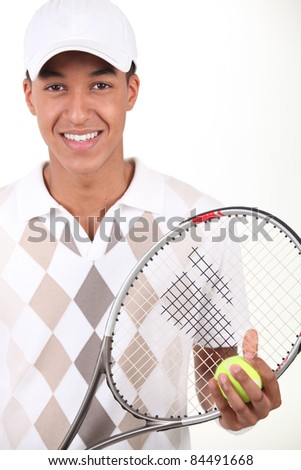 Portrait of a tennis player - stock photo