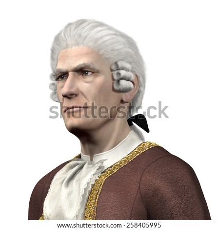 Portrait of a 17th century gentleman - 3d render with digital painting. - stock photo