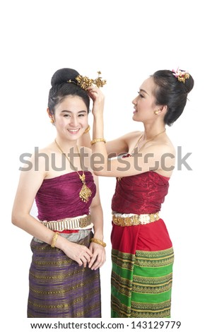 Portrait of a Thai woman.: Thai traditional - stock photo