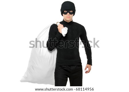 Portrait of a thief holding a bag isolated against white background - stock photo