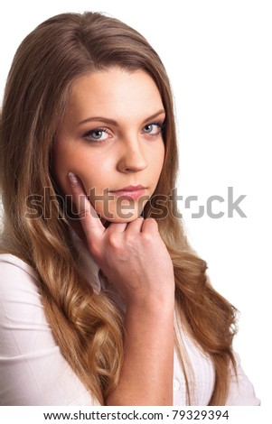 Portrait of a thinking woman isolated - stock photo