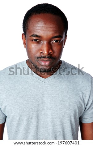 Portrait of a thoughtful african man isolated on white background
