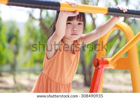 Portrait of a thoughtful cute little asian girl in playground