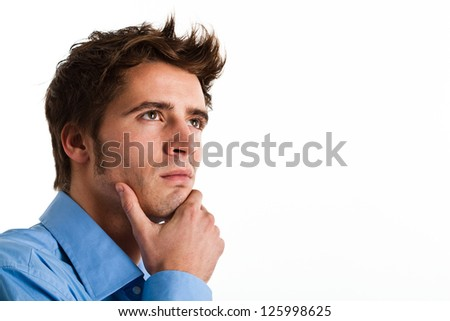 Portrait of a thoughtful man - stock photo