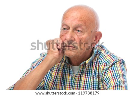 Portrait of a thoughtful senior man looking away - stock photo