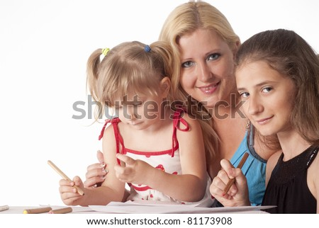 portrait of a three girls drawing on a white - stock photo