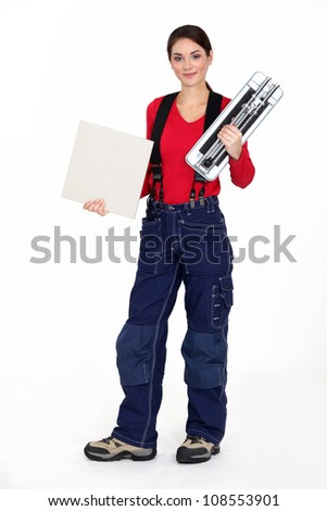 Portrait of a tile fitter - stock photo
