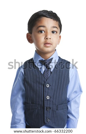 Portrait of a Toddler in Business Attire, Isolated, White - stock photo
