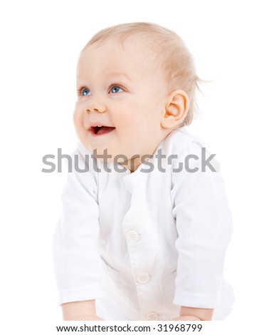 Portrait of a toddler on isolated white background - stock photo