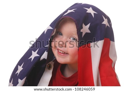 Portrait of a toddler with an american flag on white background - stock photo