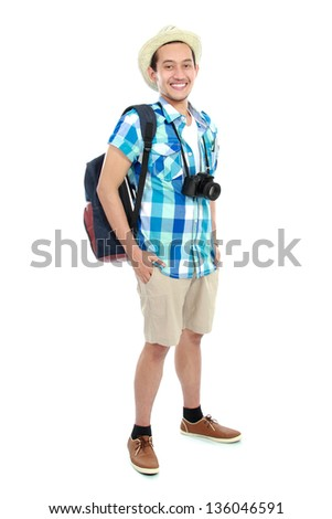 portrait of a tourist isolated on white background - stock photo