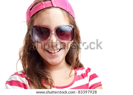Portrait of a trendy latin girl with sunglasses isolated on a white background - stock photo