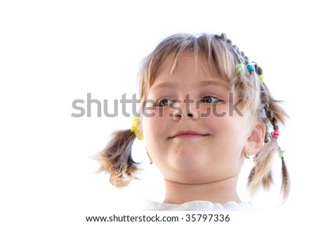 portrait of a tressed young child girl