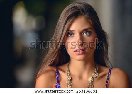 Portrait of a very beautiful girl with big blue eyes. - stock photo