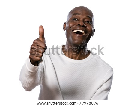 Portrait of a very happy afro American showing thumbs up in studio on white isolated background - stock photo