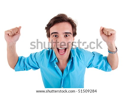 Portrait of a very happy young man with his arms raised, isolated  on white background. Studio shot - stock photo