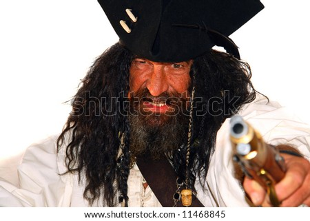 Portrait of a vicious medieval pirate (isolated on white) - stock photo