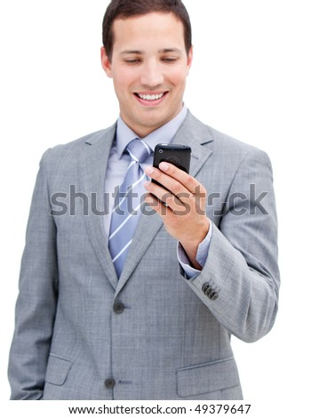 Portrait of a victorious businessman looking at his phone isolated in a white background - stock photo
