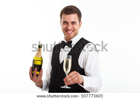 Portrait of a waiter holding a champagne bottle. Isolated on white - stock photo