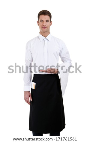 Portrait of a waiter isoleted over white background - stock photo
