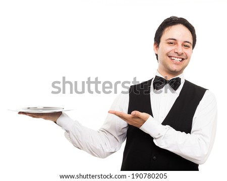 Portrait of a waiter showing an empty plate - stock photo