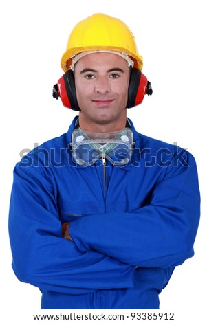 Portrait of a well-protected tradesman - stock photo